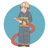 Fireman cartoon. Illustration of a fireman cartoon Royalty Free Stock Photos