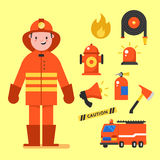 Fireman character design with fireman icons set. Fireman elements for info graphic. Vector illustration.  Royalty Free Stock Images