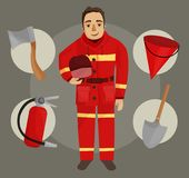 Illustration of fireman stock illustration