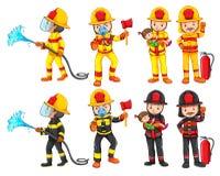 A fireman character set. Illustration stock illustration