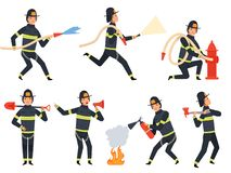 Fireman characters. Rescue firefighter saving helping people water and fire vector mascots in action poses royalty free illustration
