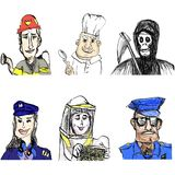 Fireman, Chef, Pilot Woman, Beekeeper, Policeman, Angel of Death. Collection of 6 people with hats in different jobs: a firefighter man with a helmet and a hose vector illustration