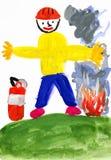 Fireman. child drawing Stock Photos