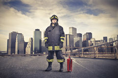 Fireman on a City Street Stock Photo