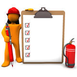 Fireman Clipboard. Orange cartoon character as fireman with red pen and clipboard Stock Photography
