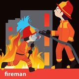 Fireman collection vector illustration. Character Stock Image