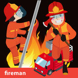Fireman collection vector illustration. Character Royalty Free Stock Photo