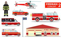Fireman concept. Detailed illustration of firefighter, fire station building, firetruck and helicopter in flat style on white. Detailed illustration of fireman Stock Photo