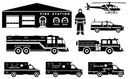 Fireman concept. Detailed illustration of firefighter, fire station building, firetruck and helicopter in flat style  Stock Images