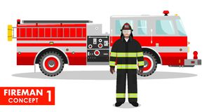 Fireman concept. Detailed illustration of firefighter and fire truck in flat style on white background. Vector Royalty Free Stock Photo