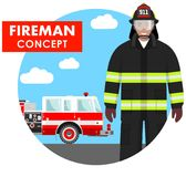Fireman concept. Detailed illustration of firefighter in uniform on background with fire truck in flat style. Vector illustration. Detailed illustration of Stock Photography