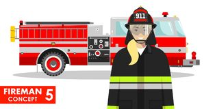 Fireman concept. Detailed illustration of woman firefighter and fire truck. Detailed illustration of firewoman and fire truck in flat style on white background Stock Image