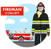 Fireman concept. Detailed illustration of woman firefighter in uniform on background with fire truck in flat style. Detailed illustration of firewoman in uniform Royalty Free Stock Photo