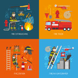 Fireman Concept 4 flat Icons Square Royalty Free Stock Photos