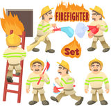 Fireman concept set, cartoon style. Fireman concept set. Cartoon illustration of 6 fireman vector concepts for web Royalty Free Stock Images
