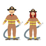 Fireman Couple. Vector illustration of a young fireman couple Stock Photo