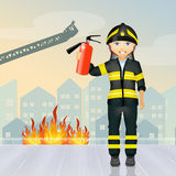 Fireman. Cute illustration of fireman worker Royalty Free Stock Images