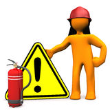Fireman Danger Extinguisher. Orange cartoon character as fireman with attention sign. White background Stock Photos