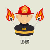 Fireman design. Over beige background, vector illustration Royalty Free Stock Photography