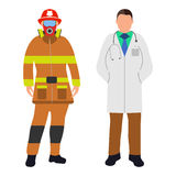 Fireman and Doctor Cartoon icon. Service 911. Fireman and Doctor flat icon. Service 911. Cartoon Vector illustration Stock Image