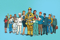Fireman doctor Secretary astronaut Builder chef pilot miner and. Other occupations. multi-ethnic group. Pop art retro vector illustration Stock Image