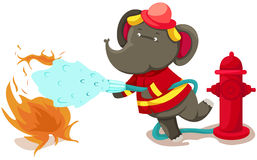 Fireman elephant. Illustration of isolated fireman elephant on white Royalty Free Stock Images
