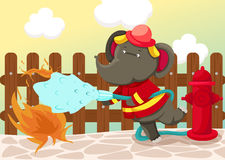 Fireman elephant. Illustration of landscape fireman elephant on white Stock Images