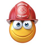 Fireman emoji isolated on white background, firefighter emoticon 3d rendering. Illustration Royalty Free Stock Photo