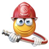 Fireman emoji isolated on white background, firefighter emoticon 3d rendering. Illustration Stock Photo