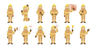 Fireman emoji set. Fireman emoji set on the white background. Man in unifrom. Happy, angry or sad Stock Images