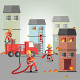 Fireman eps10 format. Burning cartoon character drawing emergency fighter fire firefighter fireman firemen hot house houses illustration male man occupation out Royalty Free Stock Photography