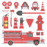 Fireman equipment. Collection of flat firefighter icons and symbols. vector illustration Royalty Free Stock Photos