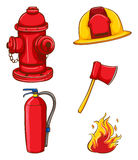 Fireman equipment. Illustration of a set of equipment for fireman Royalty Free Stock Photography