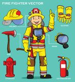 FIREMAN AND EQUIPMENT PRESENTATION. INDUSTRIAL VECTOR ART AND ILLUSTRATION Stock Photo
