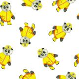Fireman equipment retro style watercolor seamless pattern with funny panda. vector illustration