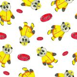 Fireman equipment retro style watercolor seamless pattern with funny panda. stock illustration