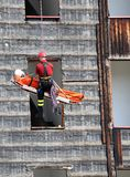 Fireman during an exercise carries the stretcher Stock Images