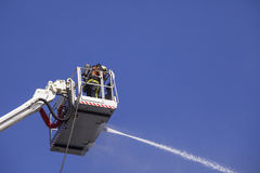 Fireman on an extended boom Stock Photo