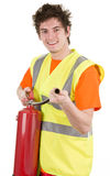 Fireman with an extinguisher Royalty Free Stock Images