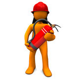 Fireman With Extinguisher. Orange cartoon character as fireman with extinguisher Royalty Free Stock Photo