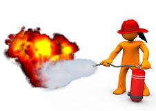 Fireman Extinguisher Fire. Orange cartoon character blows out the fire with extinguisher Royalty Free Stock Photos