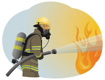 Fireman. Extinguishes the fire by spraying the water. He is clothed in a protective uniform Royalty Free Stock Image