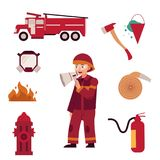 Fireman and extinguishing fire equipment set isolated on white background. Flat cartoon character of firefighter in red protection uniform and various working Stock Photo