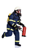 Fireman. Extinguishing the fire over a white background Royalty Free Stock Photos