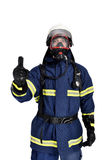 Fireman. Extinguishing the fire over a white background. hand ok sign Royalty Free Stock Photos