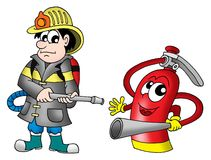 Fireman and fire extinguisher Stock Image