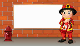 A fireman with a fire extinguisher in front of an empty board. Illustration of a fireman with a fire extinguisher in front of an empty board Royalty Free Stock Image