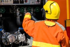 Fireman Fire fighter attacking. Fireman Fire fighter attacking Royalty Free Stock Photography