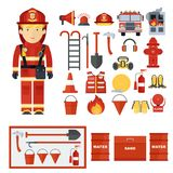 Fireman fire fighting equipment. Set of fire equipment. Vector fire man tools . Flat cartoon fire equipment objects isolated on white background. Fire safety Stock Photos
