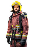 Fireman in fire fighting gear. Royalty Free Stock Photo